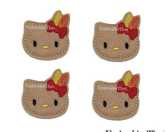 UNCUT holiday kitty felt applique embellishment felties hair bow center(4)