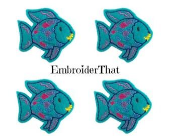 UNCUT Little blue rainbow fish applique embellishment felties (4)