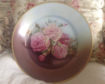 Lovely large antique shabby chic romantic cottage hand painted pink roses and gold rimmed plate