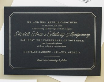 Silver and Navy Wedding Invitations, Metallic Silver Letterpress on Navy Paper, Gold and Navy Invites for Classic Wedding | SAMPLE | Dashing