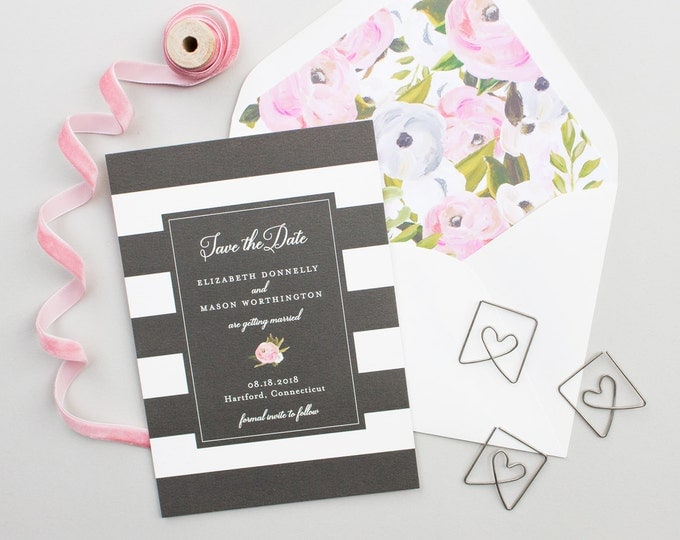 Wedding Save the Dates with Wide Stripes and Hand Painted Florals, Elegant Engagement Announcement, Floral Envelope Liner | Blooming