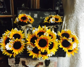 Sunflower Bouquet 17 Piece Wedding Bouquet Set, Sunflower Bridal Bouquet, Rustic Wedding Bouquet, Sunflower Burlap Bouquet Sunflower wedding