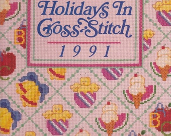 Holidays in Cross Stitch 1991  Vintage Cross Stitch Pattern Book The Vanessa Ann Collection