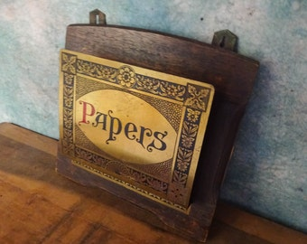 Vintage English Art and Crafts Brass and Wood Hanging Paper/Letter Rack