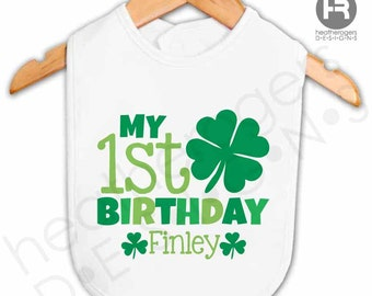 baby's first birthday st patrick's day bib - personalized 1st birthday bib - Personalized st. patrick's day Outfit