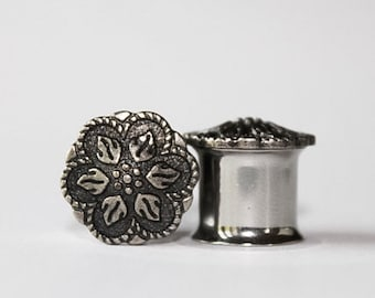Flower Plugs, gauges  in Charcoal  0g, 00g, 7/16, 1/2, 9/16, 8mm, 10mm, 11mm, 12mm, 14mm