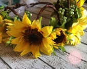 Sunflower Fields Floral Crown, Toddler Crown, Girls Crown, Adult Crown, Photography Prop