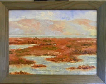 Baylands Impressions - California landscape plein air 9.5x7 oil painting framed