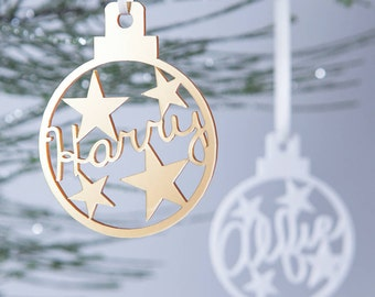 Personalised Star Christmas Bauble Decoration