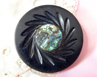 Abalone Shell Center Molded Black Plastic Coat Button