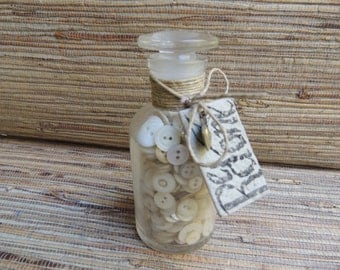 Vintage Pearl Button Treasure Bottle by Redone, Vintage Pyrex Science Bottle with Ground Glass Stopper