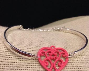 Silver&HotPink Filegry Heart Bracelet