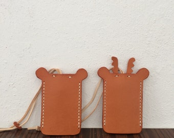 Hand stitched Leather Reindeer Key Holder