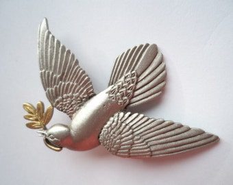 Vintage Signed JJ  Silver pewter Dove of Peace Brooch/Pin