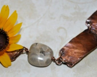 Petoskey stone copper bracelet. hammered copper bracelet, metal work, boho, Up North, Michigan bracelet, rustic, organic