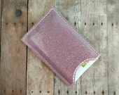 Card Case in Shiny Glitter Vinyl, Choice of 26 Colors, Holds Business Cards and Gift Cards, Hand Cut, Card Sleeve, Gift Card Holder