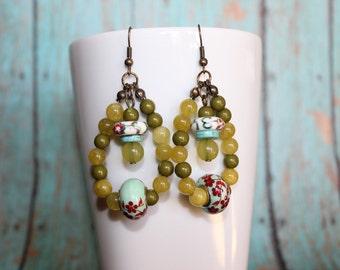 Green Beaded Earrings - Funky Earrings - Teardrop Earrings - Unique Earrings - Floral Earrings - Statement Earrings- Hippie Chic Earrings