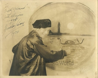 Handsome artist painting a mural antique signed photo