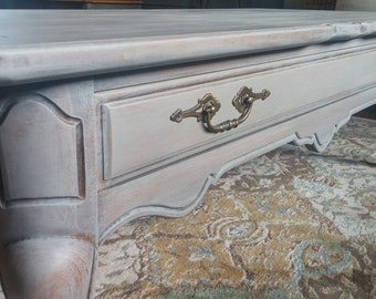 Gorgeous French Country, French Provincial Light Grey Coffee Table - Home Decor