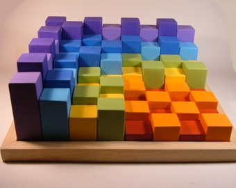 Colorful Block Set with Tray** Set of 64 Blocks** Building Block Set
