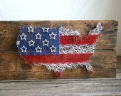 "String Art US Map and Flag 24""x36"""