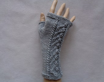 Handknitted light grey color women fingerless gloves / wrist warmers with ornaments, Ornamental gloves, Grey gloves, Christmas gift