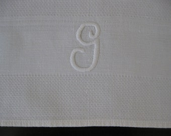 Vintage Monogrammed G White Cotton Hand Towel - Textured - Super Clean - 30.5 x 18