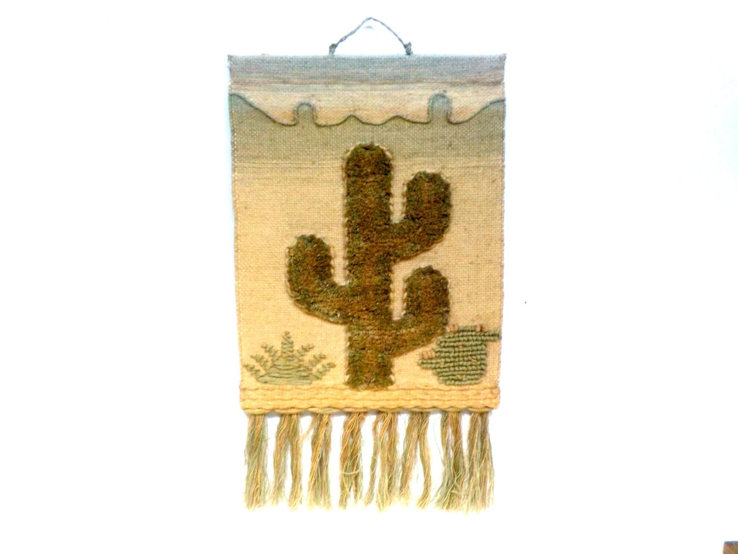 Hanging southwestern wall decor hand woven cactus yarn and for Southwestern decor