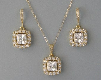 Cubic Zirconia,Yellow Gold Plated Over Brass,Necklace & Earrings-Set,Bridal Set,Square Necklace and Earrings, Princes, Bridesmaid Gift-DK774