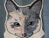 Custom  Embroidered Pet Portrait UNCUT WITH BANNER for Buffy
