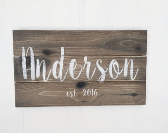 Custom Weathered Wood Sign, Rustic Last Name Sign, Family Established Sign, Distressed Personalized Name Sign, Personalized Wedding Gift