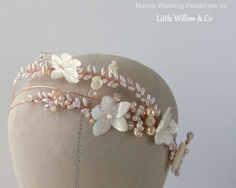 MARNIE Mother of Pearls Bridal Headdress, Rose Gold Wedding Headband, Wedding Headdress, Beach Wedding Headdress, Wedding Headpiece,