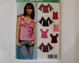 New Look 6408 Sewing Pattern Top 4 Styles Sleeveless Empire Waist Kimono Sleeve Misses Sizes 6 8 10 12 14 16 UNCUT