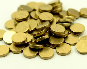 "15 pcs. 10 mm  (25/64"" ) Raw Brass 12 gauge  (2 mm thick ) Solid Brass Stamping Blanks"