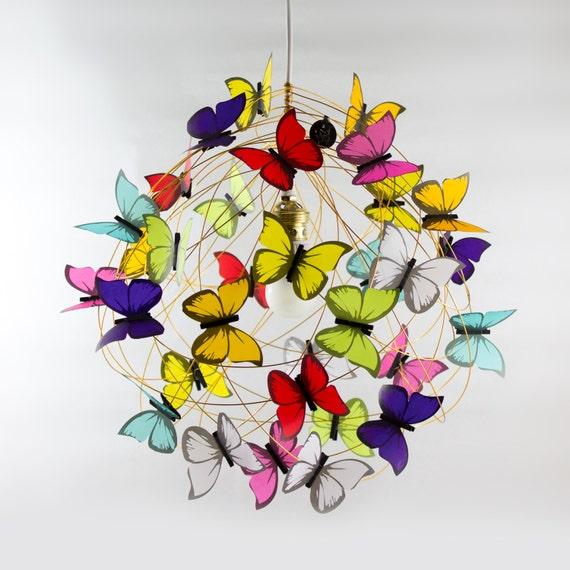 Ceiling lamp with multicolor butterflies-Whimsical Lighting,Kids decor,fun light,colorful light,playroom,Kids Room Decor,Children Room Light