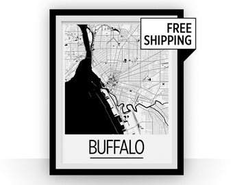 Buffalo Map Poster - usa Map Print - Art Deco Series