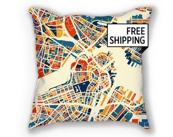 Boston Map Pillow - Massachusetts Map Pillow 18x18