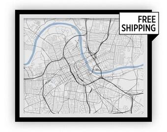 Nashville Map Print - Choose your color