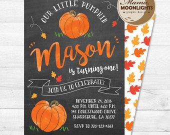 Little Pumpkin Birthday Invitation with Back Fall Autumn Printable Invite Boy or Girl (1st, 2nd, 3rd, 4th, etc. birthdays) Chalkboard Option