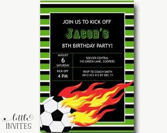 Soccer invitation/Printable/Football Invitation/End of Season Party invitation/Sports Birthday Invitation/Boys Girls soccer Invite-Jacob
