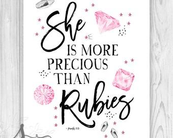 She is more Precious than Rubies Proverbs 3:15 Inspirational Typography Print, Christian Wall Decor, Scripture Art, Nursery Bible Verse Art