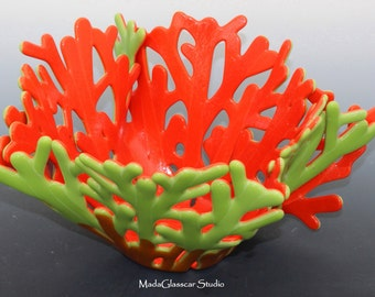 Red and Green Fused Glass Coral Vase