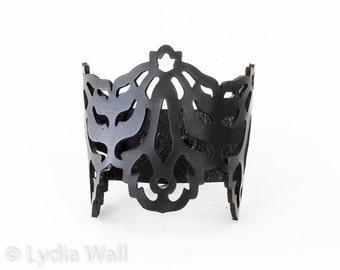 """Laser Cut Leather Cuff - """"Falling Leaves"""" design in Black"""