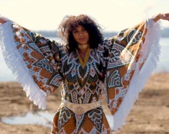 Bohemian Mandala Angel wing sleeve mini dress Crochet FRINGE festival boho dress 70s gypsy peasant dress hippie bohemian cotton
