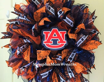 Auburn University Deco Mesh Wreath - Deco Mesh Wreath - Auburn Wreath - College Football Wreath