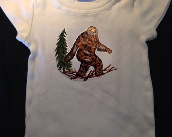 Baby Onesie Big Foot Sasquatch Design Hand Painted sizes 3 mon to 18 mon