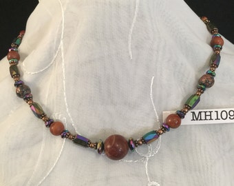Magnetic Hematite Necklace Choker with Red Jasper Accent Beads #MH109c