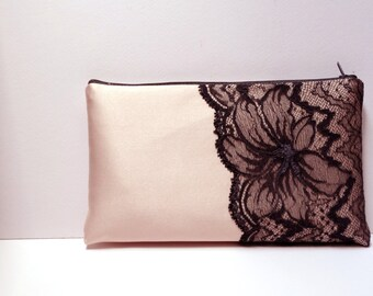 Peach wedding clutch Satin Bridal bag Gray lace  Personalized bridesmaid bags Beach wedding Summer clutch Summer wedding Set bridesmaids 2
