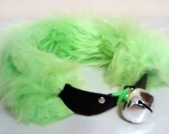 Green Fur and Leather Cosplay Collar with Bell