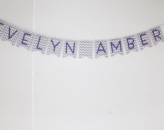 Simple Personalized Banner - Purple and Gray Chevron -